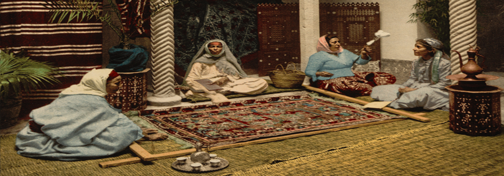 Moorish women making Arab carpets, Algiers c. 1899