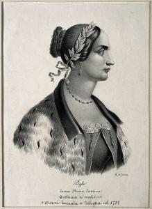 Laura Maria Caterina Bassi. Lithograph by A. di Lorenzo.